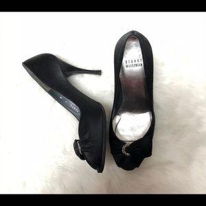 Stuart weitzman peep toe heels black satin 7